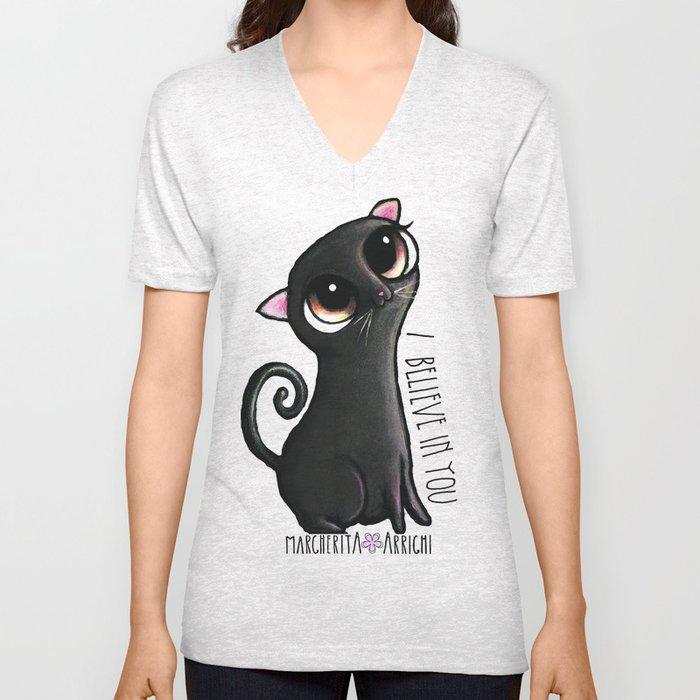 Black cat with big eyes Unisex V-Neck