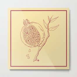 Golden Pomegranate Metal Print
