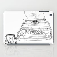 hemingway iPad Cases featuring Earnest Hemingway Writing on Typewriter by Meghann Chapman