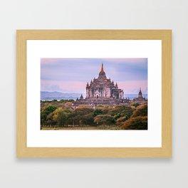 Buddhist Temple Rises Above the Fields of Bagan Fine Art Print Framed Art Print