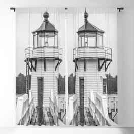 Doubling Point Lighthouse Bath Maine Kennebec River Light New England Nautical Black and White Blackout Curtain