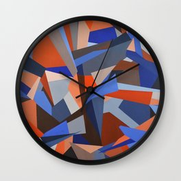 Orange & Blue Geoprint Wall Clock