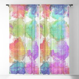 Colorful Ink Blots Sheer Curtain