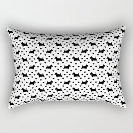 Cute Black Scottish Terriers (Scottie Dogs) & Hearts on White Background Rectangular Pillow