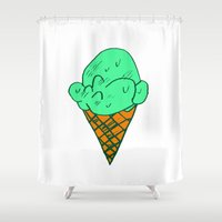 icecream Shower Curtains featuring ICECREAM by SLUGSPOON