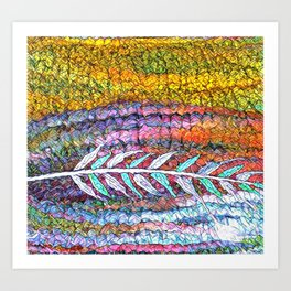 Stained Glass Prairie Feather Art Print