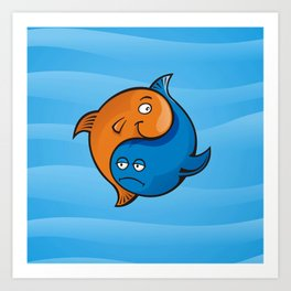 Yin Yang Fish Cartoon Art Print