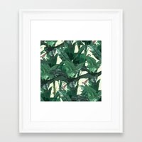 banana leaf Framed Art Prints featuring Banana Leaf Pattern 2 by Tamsin Lucie