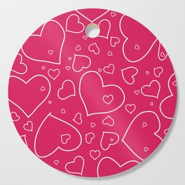 Hand Drawn Pattern - Hot Pink and White Hearts Cutting Board