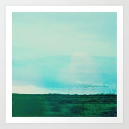 Astract Modern Landscape Wall Art Green and Blue Color Block Art Print