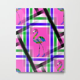 Chic Flamingo Pattern Metal Print
