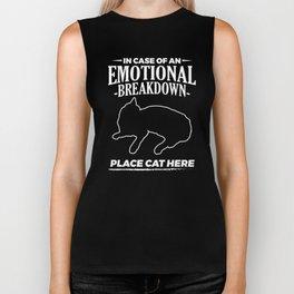 In Case Of An Emotional Breakdown Place Cat Here Funny Design Biker Tank