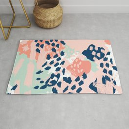 Kala - abstract painting minimal coral mint navy color palette boho hipster decor nursery Rug