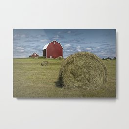 Hay Bales and Red Barn Metal Print