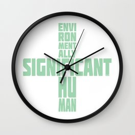 Environmentally significant human in green mint Wall Clock