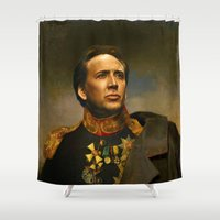 nicolas cage Shower Curtains featuring Nicolas Cage - replaceface by replaceface