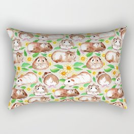 Guinea Pigs and Daisies in Watercolor Rectangular Pillow