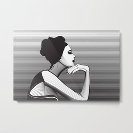 Black and White Female Metal Print