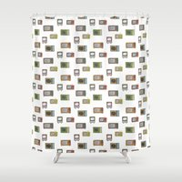 tv Shower Curtains featuring television by Kelly Tucker