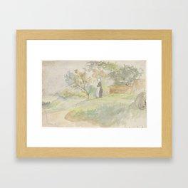 Staande vrouw in een landschap, Jozef Israëls, 1834 - 1911 Framed Art Print