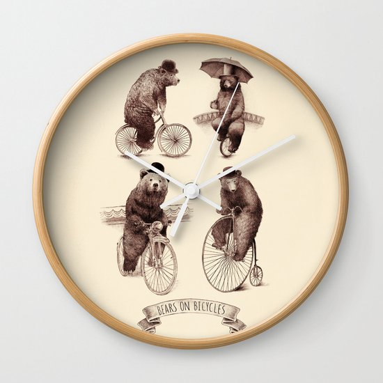 Bears on Bicycles Wall Clock