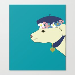 white dog with blue floral hat Canvas Print