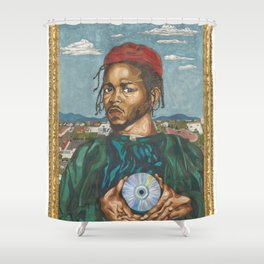 Portrait of a Rapper with the Album of the Year Shower Curtain