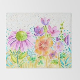 Summer Floral Throw Blanket