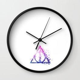 Deathly Hallows galaxy paint drops - Potterhead - elder wand, invisibility cloak, resurrection stone Wall Clock