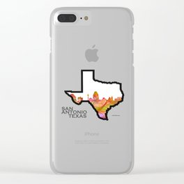Texas State Map with San Antonio Skyline Clear iPhone Case