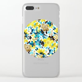 Happy Yellow Flower Collage Clear iPhone Case