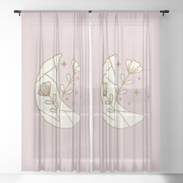 Mystic Moon and Flowers - magical illustration Sheer Curtain
