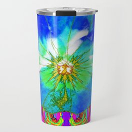 Purple Pansy Garden Fantsy Abstract Travel Mug