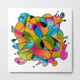 Abstract Gradient Critters Metal Print