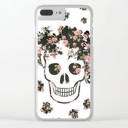 Flower Skull, Floral Skull, Pink Flowers on Human Skull Clear iPhone Case