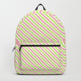 Pink and Green Diagonal Lines Backpack