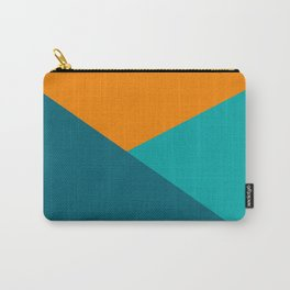 Jag - Minimalist Angled Geometric Color Block in Orange, Teal, and Turquoise Carry-All Pouch