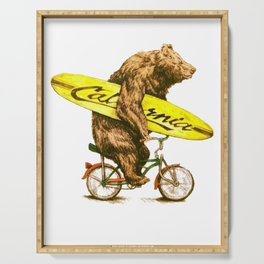 California bear with bicycle and surfboard for surfers Serving Tray