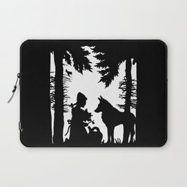 Black Silhouette Red Riding Hood Wolf in Woods Trees Laptop Sleeve