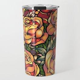 Orange Shaded Floral Travel Mug