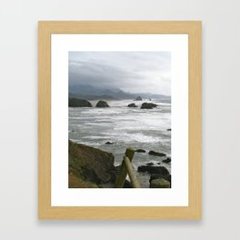 Stormy day at Cannon Beach Oregon  Framed Art Print