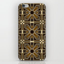 Art Deco Floral Tiles in Browns and Faux Gold iPhone Skin