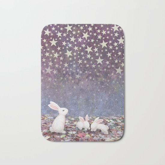 bunnies under the stars Bath Mat