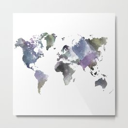 Watercolor World Metal Print