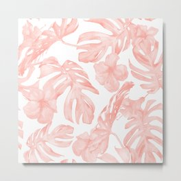 Tropical Palm Leaves Hibiscus Flowers Coral Pink Metal Print
