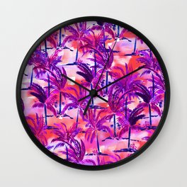 Palm Tree Purple Wall Clock