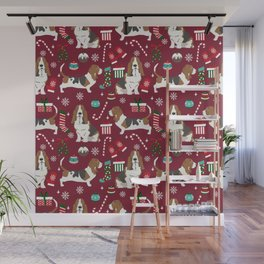 Basset Hound christmas pattern christmas dog breed pet friendly gifts Wall Mural