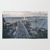 oakland Area & Throw Rugs featuring Bay Bridge - Oakland, CA by Roel Vista Photography