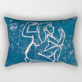 Bathing Girl i Blue Rectangular Pillow