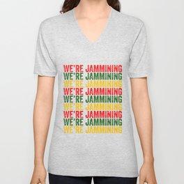 We're Jamming | Jamaican reggae  music lovers gift | Jamaica flag Unisex V-Neck